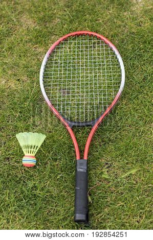 Top View Of Badminton Racket And Shuttlecock Lying On Green Lawn