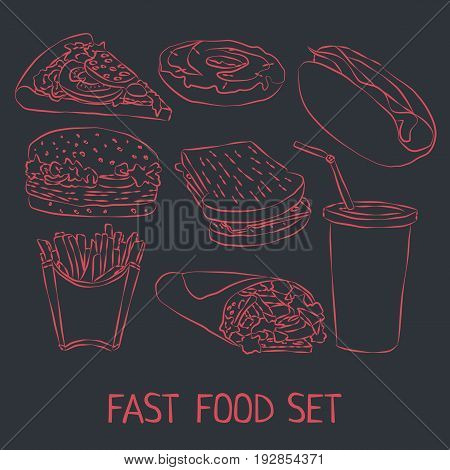 Fast Food Doodle Icon Set with different kind of products and drinks vector illustration