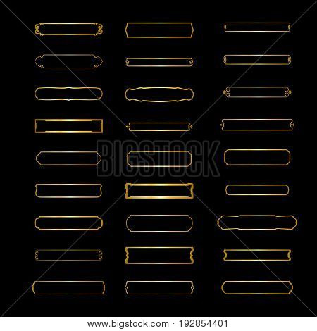 Vector Set of Elegant Frames. minimalist horizontal frame for logo and texts. Linear Badges Isolated on White Background.