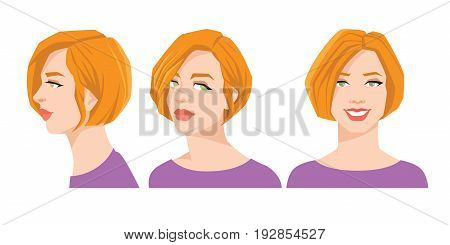 Vector illustration of beautiful woman's face on white background. Various turns heads. Face in front and profile.