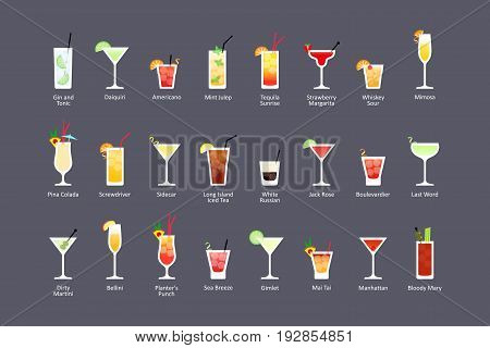 Most popular alcoholic cocktails part 2 icons set in flat style on dark background. Vector