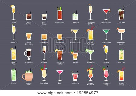 Alcoholic cocktails IBA official cocktails Contemporary Classics. Icons set in flat style on dark background. Vector