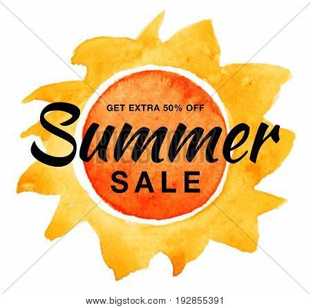 Summer sale template vector banner with watercolor sun isolated on white background. Yellow sun with realistic paper watercolor texture. Campaign sale 50 percent off. Aquarelle design element.