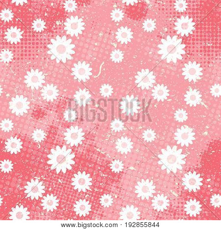 Vector vintage seamless pattern. Background with doodle chamomile with halftone dits in grunge style. Cute dasy pattern