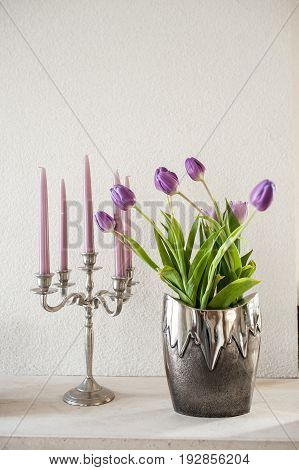 Vintage Decoration Violet Tulips In Silver Metal Vase