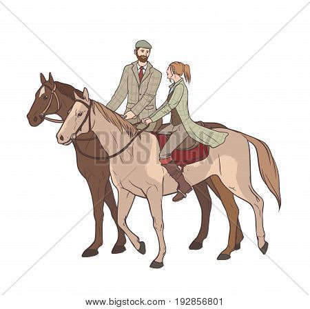 Couple horseback riding. Lovers guy and girl on horses in tweed suit. Hand drawn colorful vector illustration