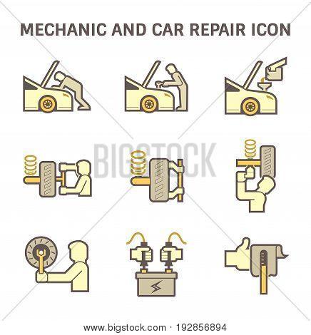 Mechanic and car repair service vector icon set design.