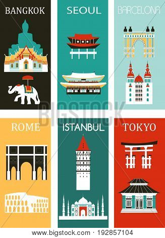 Set of Famous cities made from different parts