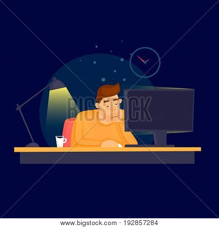 Work at the office until late. Flat vector illustration in cartoon style.