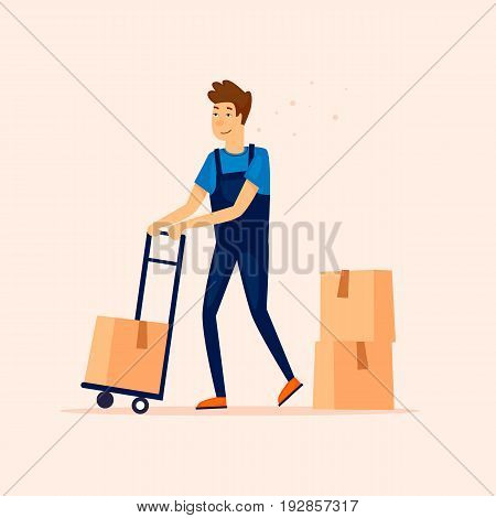 Man with loaded delivery cart. Goods delivery. Flat vector illustration in cartoon style.