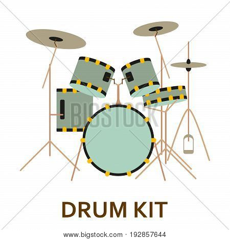 Music instrument icon. Drum kit. Vector flat illustration
