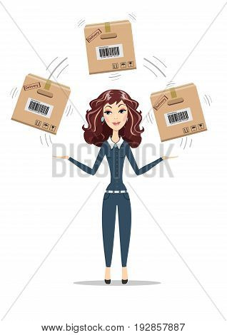 woman holding box isolated on white background. smiling cartoon delivery service businesswoman juggling with cardboard box. Women in business. For use in presentations.