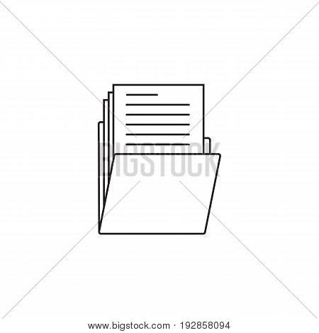 Folder thin line icon, portfolio outline vector logo illustration, linear pictogram isolated on white