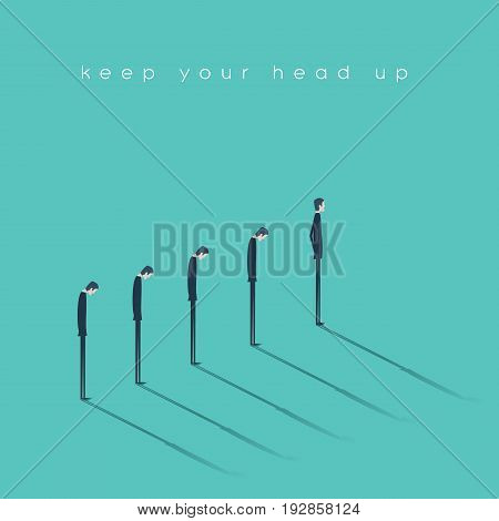Think positive and keep your head up vector concept. Optimistic businessman standing in front of the line of pessimistic businessman. Eps10 vector illustration.
