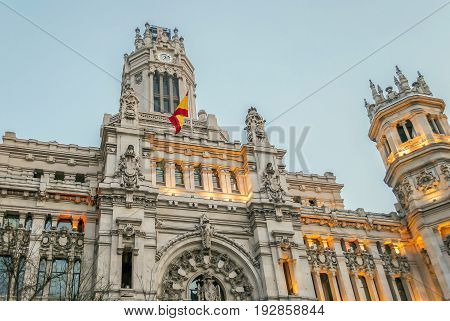 Madrid, Spain, february 2010: Palacio de Comunicaciones at Plaza de Cibeles in the city of Madrid Spain