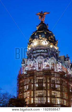 Madrid, Spain, February 2010: Metropolis building facade located at Gran Via in Madrid Spain