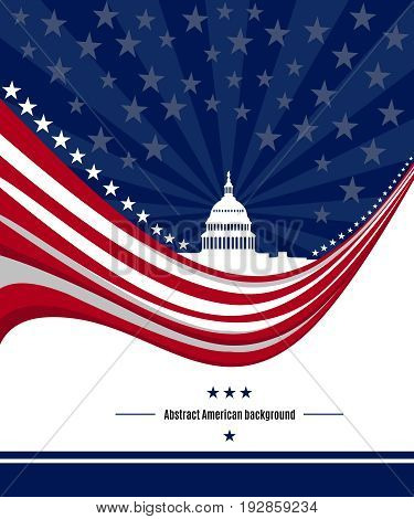 Patriotic American background with abstract USA flag and White house and Capitol building Washington DC symbol. Vector illustration
