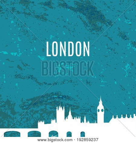 London City skyline white silhouette on blue texture background. Big Ben, Westminster Abbey, Tower bridge. Architecture of England. Great Britain capital panorama. London landmark vector illustration
