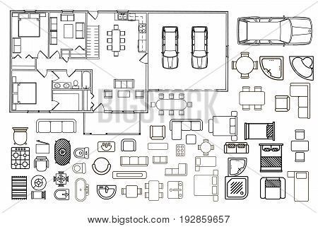 Floorplan with isolated furniture elements in top view