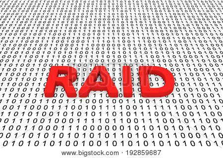 RAID in the form of binary code, 3D illustration