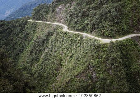 The Death Road - the most dangerous road in the world North Yungas Bolivia.