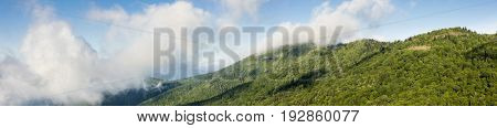 180 degree panorama of The Great Smoky Mountains seen from the Blue Ridge Parkway