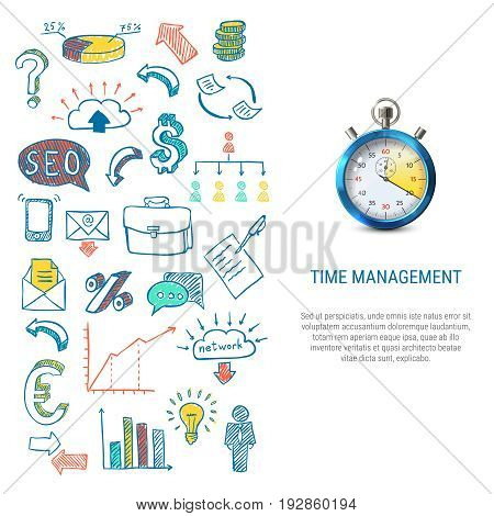 Time management concept with colorful hand drawn business icons 3d stopwatch on white background isolated vector illustration