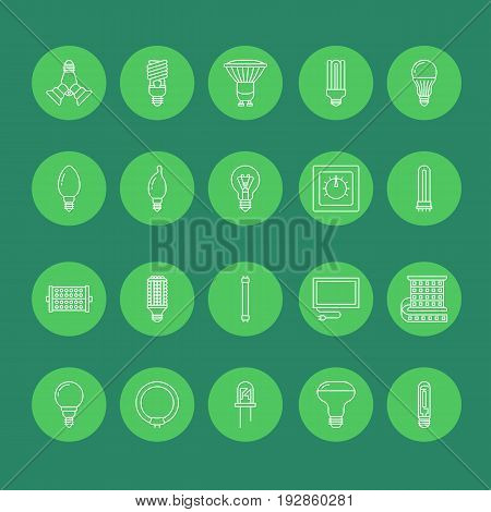 Light bulbs flat line icons. Led lamps types, fluorescent, filament, halogen, diode and other illumination. Thin linear signs for idea concept, electric shop. Green color.