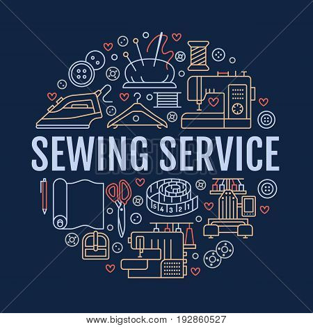 Sewing equipment, hand made studio supplies banner illustration. Vector line icon needlework accessories - sewing machine, fabric, iron, hanger, DIY tools. Tailor store template with place for text.