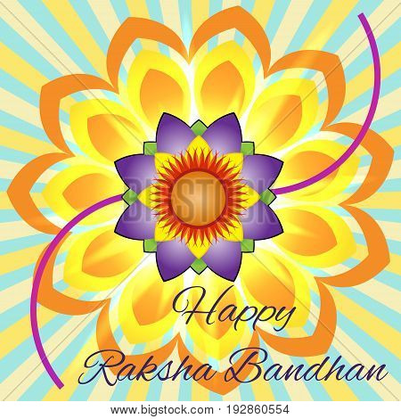 Happy Raksha Bandhan. Elegant greeting card with beautiful rakhi for Indian festival of brother and sister love celebration.