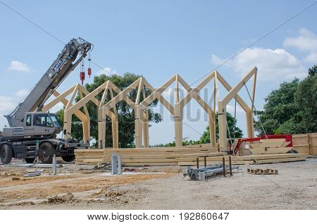 Hyde Hall Essex -17 June 2017: Large wooden framed building being constructed