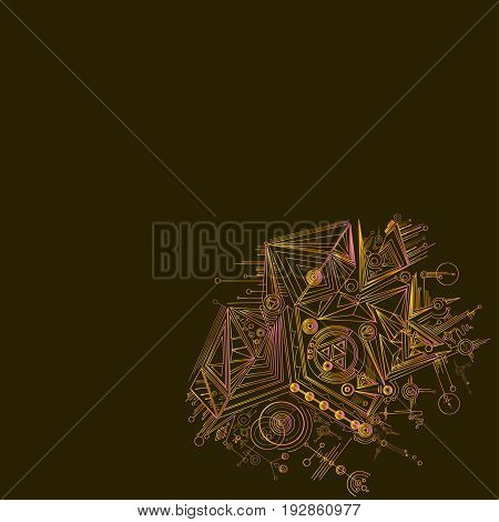 Vector graphic bright abstraction on a brown background