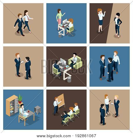 Different business situations in office. Businessman working with his team. Secretary at the table. Vector isometric illustrations set. Businessman in business situations