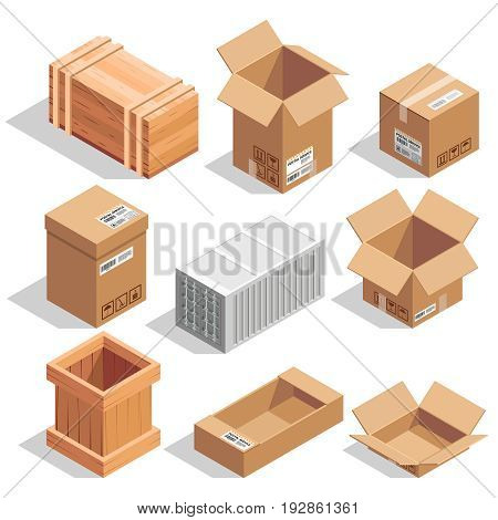Different big delivery packages. Warehouse or shipping closed and opening boxes. Isometric vector illustration closed box carton and container