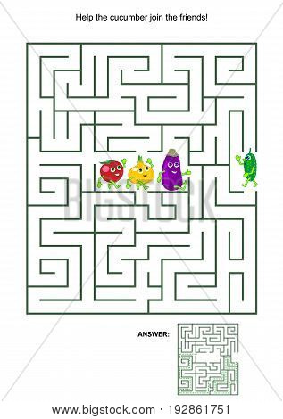 Maze game with cute vegetable characters: Help the cucumber join the friends. Answers included.