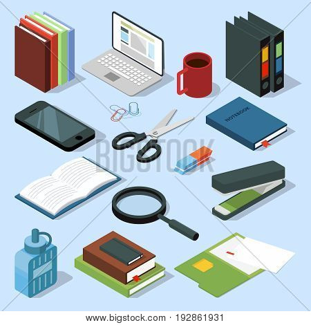 3d office equipment isometric set. Books, folders, pencils and other stationery. Vector illustrations isolate folder and stapler, magnifying glass and book