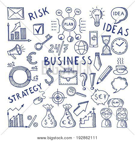 Sketches illustrations at business theme. Creative doodle vector icon set. Sketch doodle drawing business style creative, strategy risk and idea