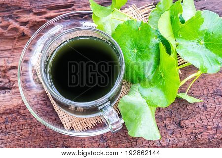 asiatic water herbal drink on wooden background