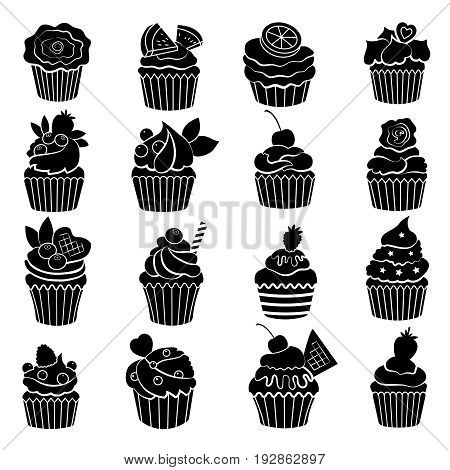 Big monochrome set of different cupcakes and muffins. Black vector illustration. Muffin dessert and cupcake delicious desert
