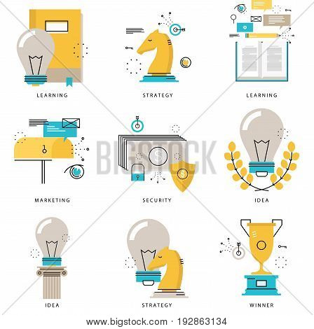 Infographics icons collection for business strategy, marketing tactics, projects, leadership, e-learning, financial security vector illustration. Line icons set. Flat design web graphics elements