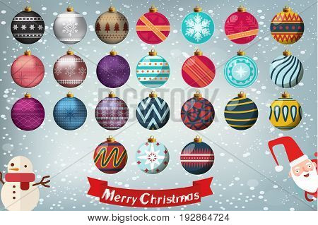 Christmas isolated Baubles colletion in different styles