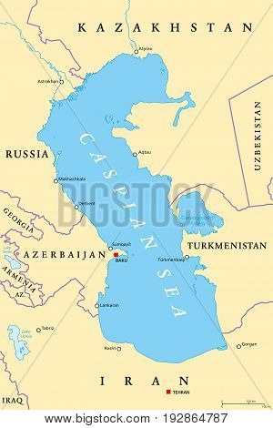 Caspian Sea region political map with most important cities, borders, rivers and lakes. Body of water, basin, and largest lake on earth between Europe and Asia. Illustration. English labeling. Vector.