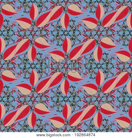 Seamless floral pattern. Vector abstract floral background. Seamless pattern with many small leaves.