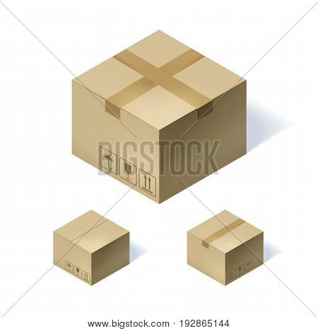 Set of three isometric cardboard boxes isolated on white background. Vector illustration