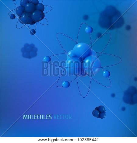 Abstract scientific background with atoms structure. Vector protons neutrons and electrons. Science concept.