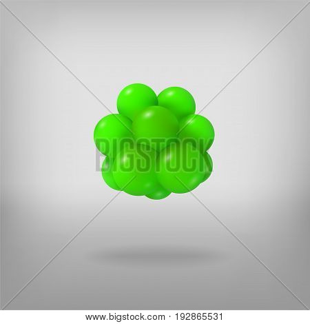 Abstract molecule. Atoms. 3d vector illustration. Science concept. Nucleus