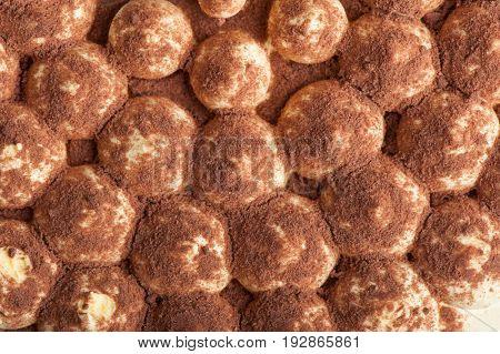Texture of cake tiramisu close up