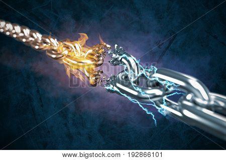 3d illustration of damaged silver chain against dark blue background