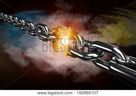 3d image of damaged silver chain against dark background