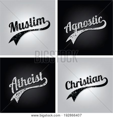 religious ignorance believe grungy text varsity vector art